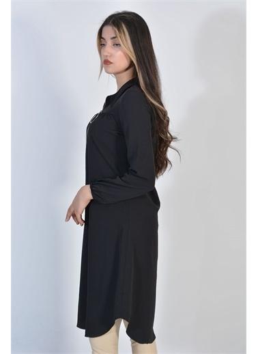 Zeren Kadın Siyah Yaka Fermuarlı Tunik Siyah